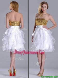 Classical Organza Sequined and Ruffled Dama Dress in White and Gold