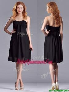 Empire Sweetheart Knee-length Short Black Dama Dress for Homecoming