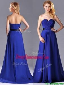 Luxurious Empire Chiffon Royal Blue Dama Dress with Brush Train