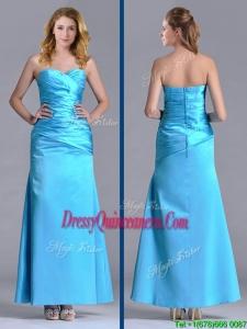 New Arrivals Sweetheart Aqua Blue Ankle Length Dama Dress in Taffeta