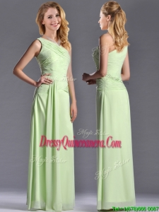 Pretty One Shoulder Side Zipper Yellow Green Dama Dress with Ruching