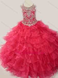 Affordable Ball Gown Coral Red Beading and Ruffled Layers Little Girl Pageant Dress with Straps and Off the Shoulder