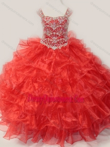 Affordable Ball Gown Straps Organza Beaded Bodice Lace Up Little Girl Pageant Dress in Red