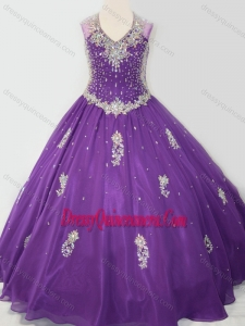 Affordable Ball Gown V Neck Organza Beaded and Applique Little Girl Pageant Dress in Purple