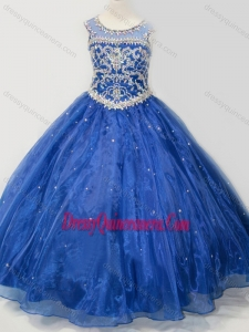 Affordable Beaded Bodice Open Back Little Girl Pageant Dress in Royal Blue