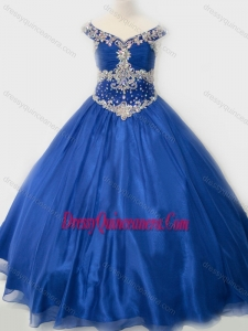 Affordable Beaded Bodice Royal Blue Little Girl Pageant Dress in Organza