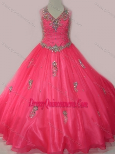 Affordable Beaded and Applique Little Girl Pageant Dress with V Neck