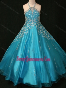 Affordable Decorated Halter Top and Bodice Teal Little Girl Pageant Dress with Criss Cross