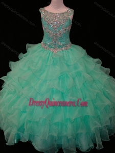 Affordable Mint Scoop Little Girl Pageant Dress with Beading and Ruffled Layers