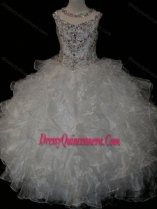 Affordable Princess Ball Gown Scoop Beaded Bodice Lace Up Little Girl Pageant Dress in White