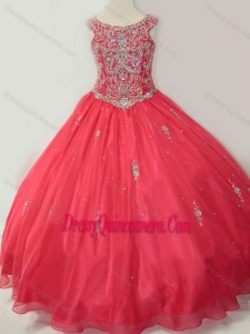 Affordable Puffy Scoop Little Girl Pageant Dress with Beading in Coral Red