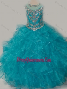 Beautiful Ball Gown Scoop Beaded Bodice Mini Quinceanera Dress with Lace Up