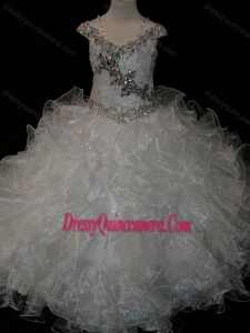 Big Puffy V-neck Ruffled Little Girl Pageant Dress with Spaghetti Straps and Sequins