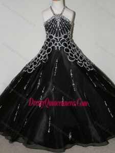Cheap Beaded Decorated Halter Top and Bodice Mini Quinceanera Dress in Black