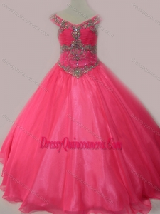 Cute Beaded Bodice Zipper Up Mini Quinceanera Dress in Hot Pink