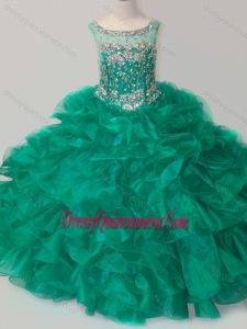 Exquisite Beaded and Ruffled Organza Mini Quinceanera Dress in Green
