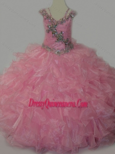 Popular V-neck Ruffled Mini Quinceanera Dress with Spaghetti Straps and Sequins
