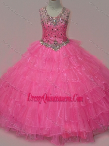 Pretty Rose Pink Mini Quinceanera Dress with Beading and Ruffled Layers