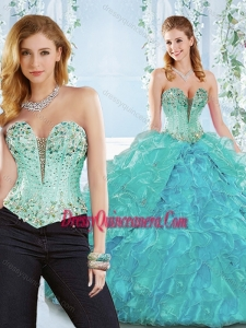 Beaded and Ruffled Organza Classic Quinceanera Gown with Deep V Neckline