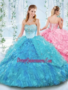 Latest Really Puffy Organza Lace Up Classic Quinceanera Dress in Blue