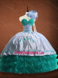 Fast Delivery Embroidered and Patterned Organza and Taffeta Quinceanera Dress in Turquoise and White