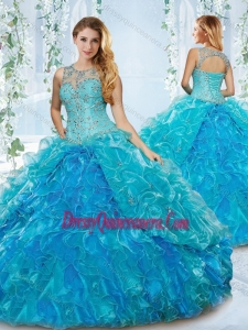 Modern See Through Blue Detachable Gorgeous Quinceanera Dress with Beading and Ruffles
