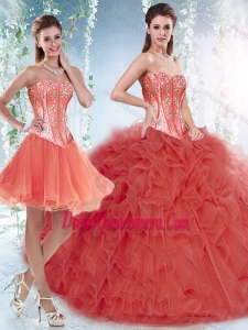 Simple Coral Red Detachable Quinceanera Gowns with Beading and Ruffles