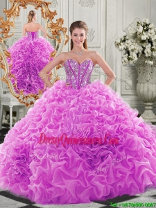 Traditional Puffy Skirt Beaded Bodice and Ruffled Quinceanera Gowns in Fuchsia