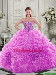 Unique Visible Boning Beaded Bodice Fuchsia Sweet 16 Dresses with Ruffles
