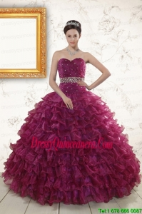 Beading and Ruffles 2015 The Most Popular Burgundy Quinceanera Gown