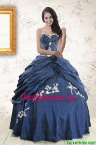 Gorgeous 2015 Sweetheart Ball Gown Quinceanera Dresses in Navy Blue