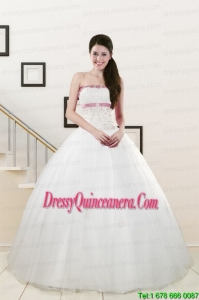 2015 Exclusive Strapless Appliques and Belt Quinceanera Dresses in White