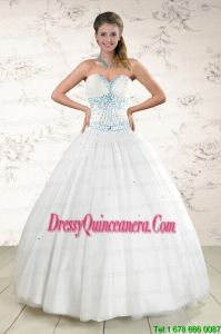 2015 Exclusive White Quinceanera Dresses with Appliques and Beading