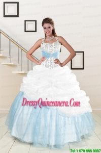 2015 Exclusive White and Blue Ball Gown Quinceanera Dress with Halter