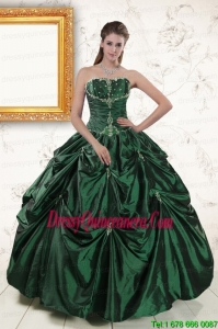 2015 Brand New Style Appliques Quinceanera Dresses in Dark Green