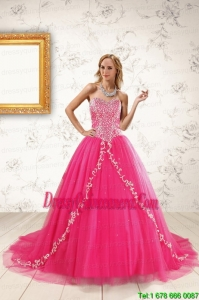 2015 Exclusive Hot Pink Quinceanera Dresses with Beading and Appliques