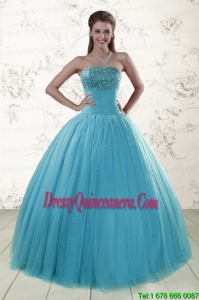 2015 Fast Delivery Sweetheart Baby Blue Quinceanera Dresses with Appliques