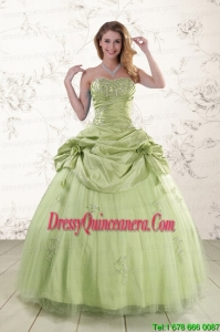 2015 Fast Delivery Sweetheart Beading Quinceanera Dress in Yellow Green
