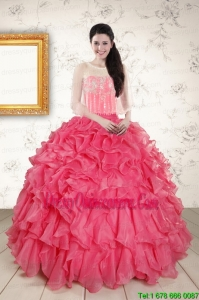 Fast Delivery Strapless Beading and Ruffles 2015 Quinceanera Dresses in Hot Pink