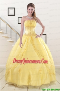 Fast Delivery Yellow 2015 Quinceanera Dresses with Strapless
