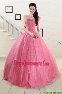 2015 Fast Delivery Strapless Quinceanera Dresses in Rose Pink