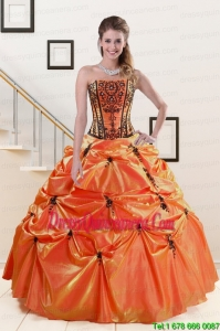 2015 Luxurious Orange Red and Black Quinceanera Dresses with Appliques