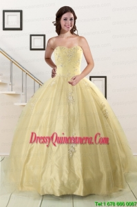 Fast Delivery Appliques Quinceanera Dress in Light Yellow For 2015