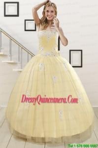 Fast Delivery Light Yellow Sweet 16 Dresses with White Appliques
