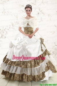 2015 Luxurious Strapless Leopard Quinceanera Dresses with Hand Made Flower