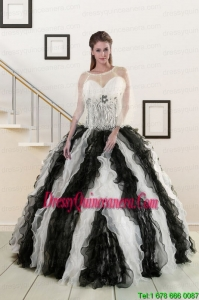 2015 Luxurious Black and White Quinceanera Dresses with Zebra and Ruffles