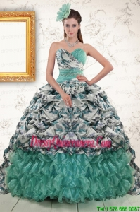 2015 Luxurious Turquoise Sweep Train Quinceanera Dresses with Beading and Picks Ups