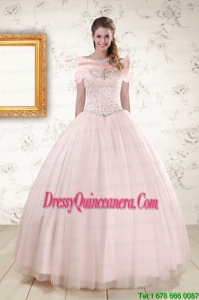 2015 New Style Beading Ball Gown Quinceanera Dresses in Light Pink