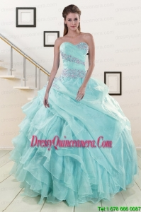 Beading and Ruffles Luxurious Quinceanera Dresses in Turquoise for 2015