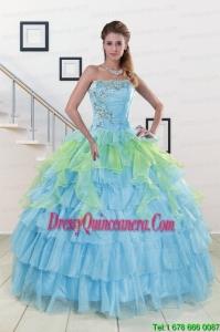 New Style Strapless 2015 Quinceanera Dresses with Beading